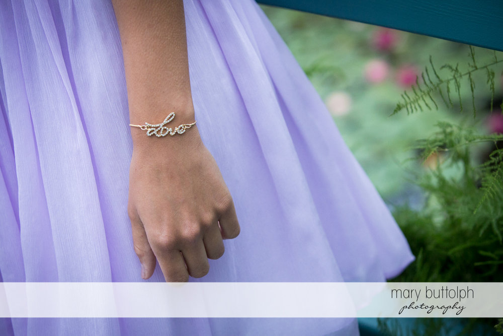 Bridesmaid's unique bracelet at the Mirbeau Inn & Spa Wedding