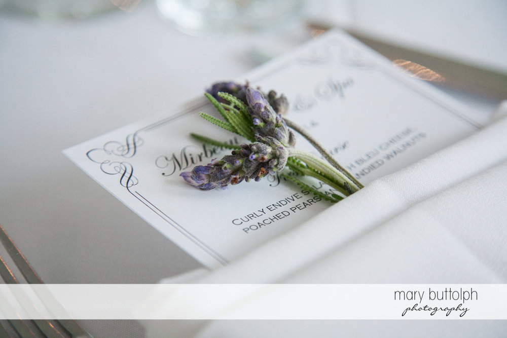 A card telling guests what's in store for them at the Mirbeau Inn & Spa Wedding