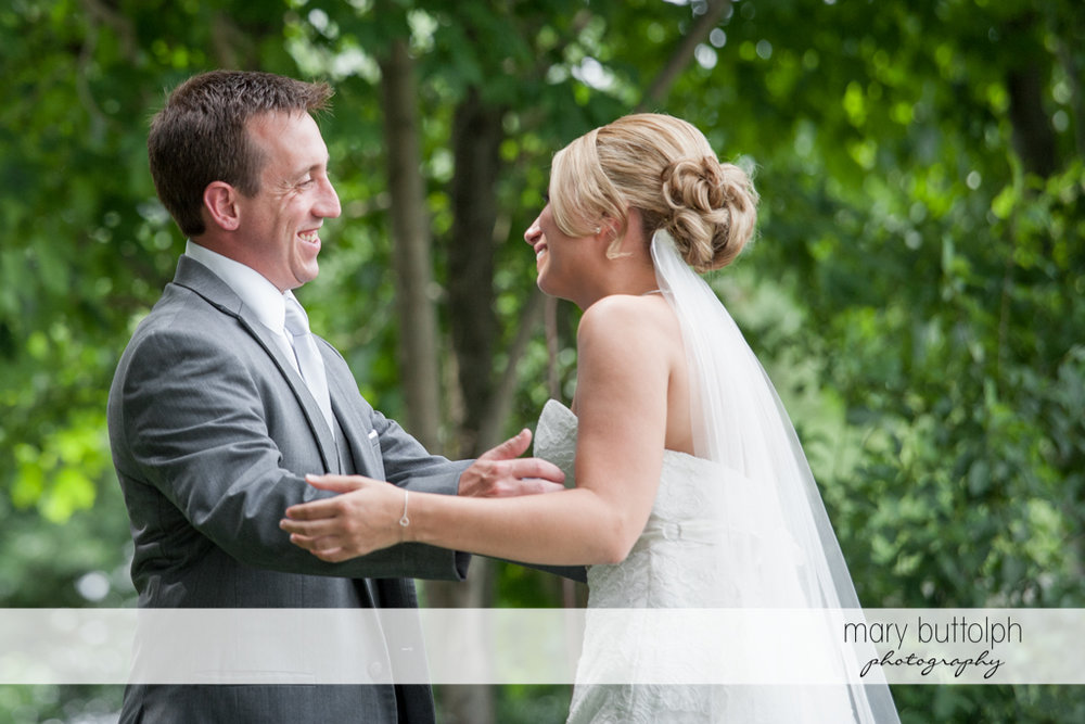 Bride meets the groom in the garden at the Sherwood Inn Wedding