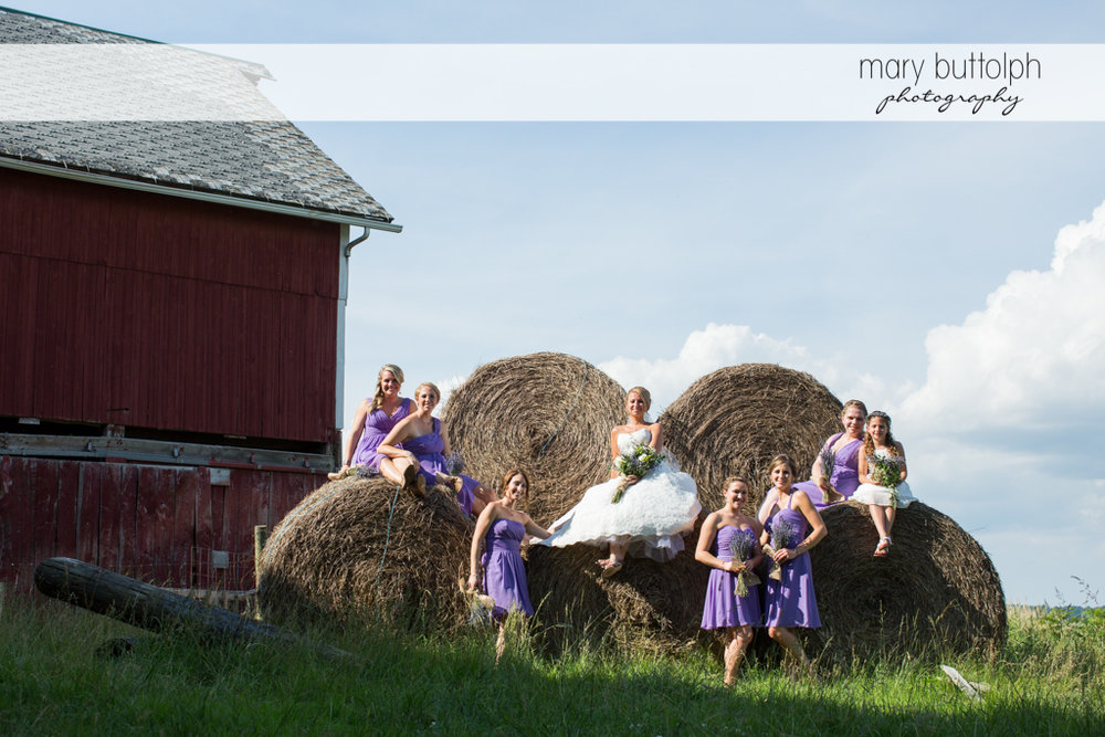 The bride and her bridesmaids pose in front of haystacks at the Sherwood Inn Wedding