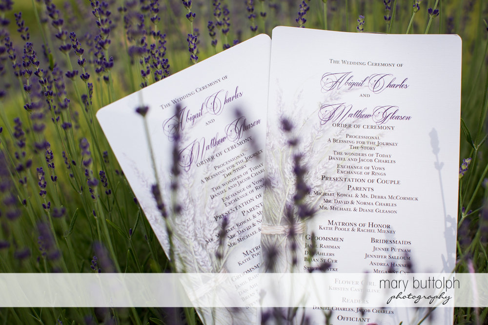 The wedding program in a field of lavenders at the Sherwood Inn Wedding