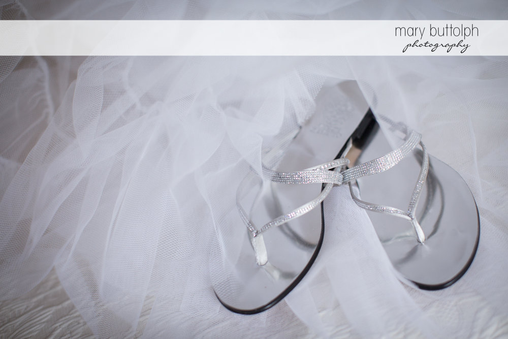 Close up shot of the bride's wedding sandals at the Sherwood Inn Wedding