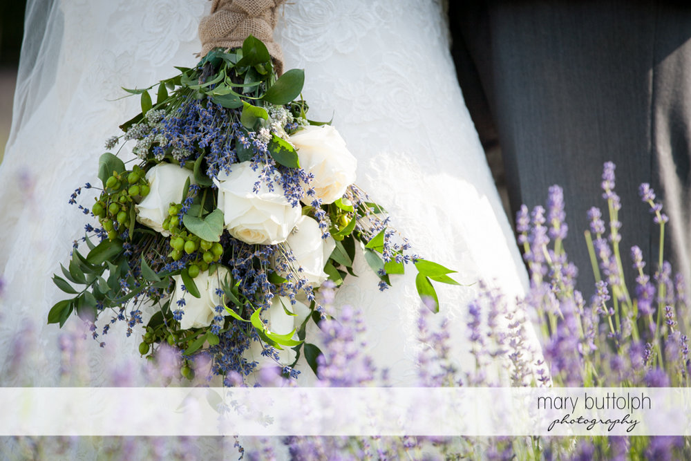 Close up shot of the bride's lavender bouquet at the Sherwood Inn Wedding