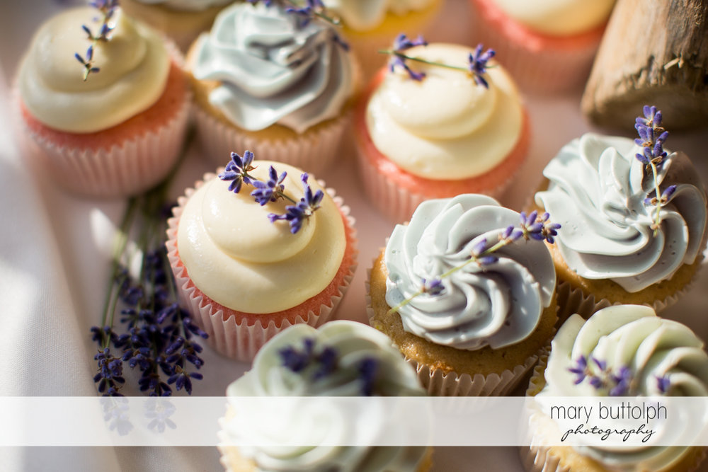Lavender-themed cupcakes at the wedding venue at the Sherwood Inn Wedding