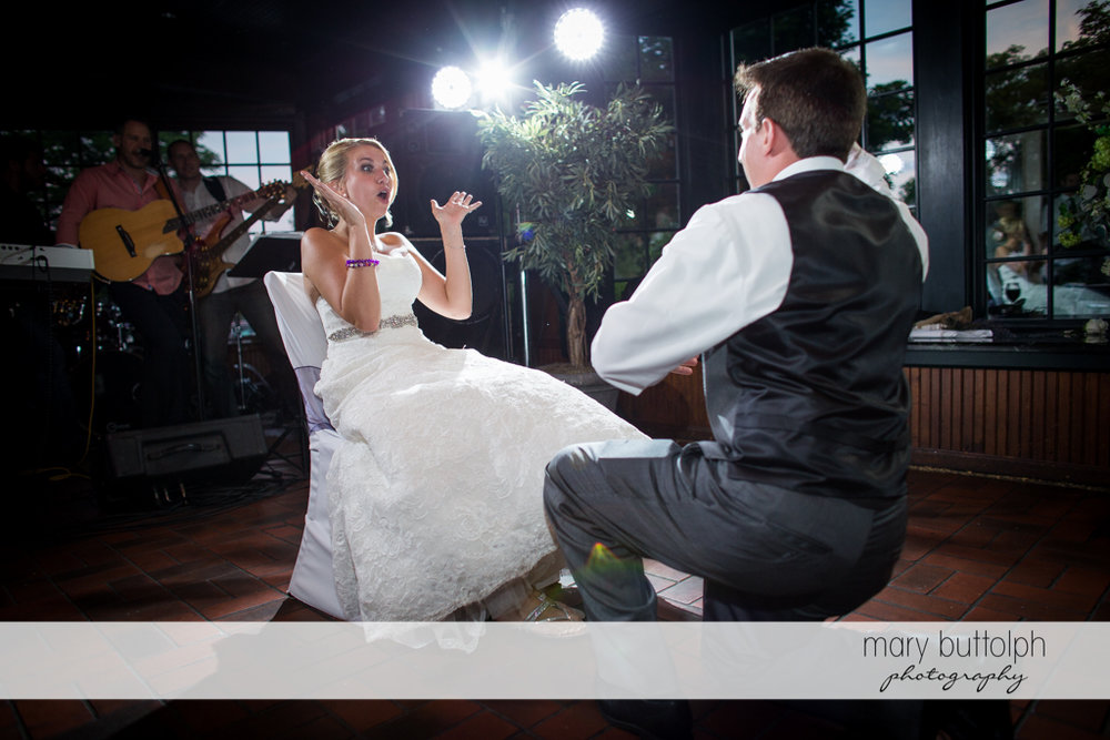 Couple having a great time on the dance floor at the Sherwood Inn Wedding