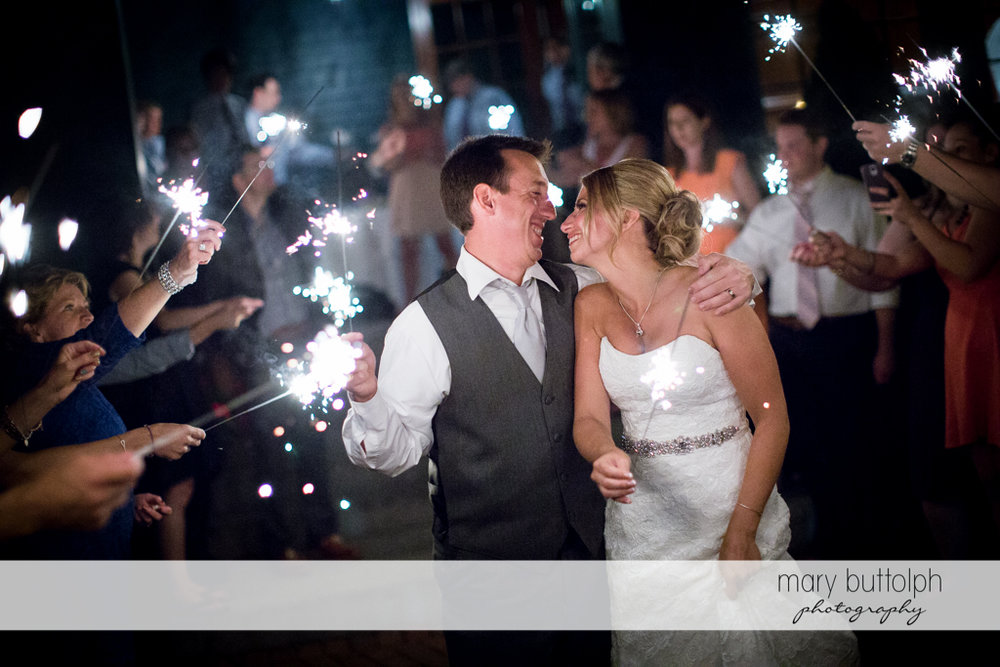 Sparklers light up the night for the happy couple at the Sherwood Inn Wedding
