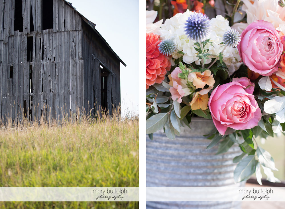 An old wooden structure and flowers at the Inns of Aurora Wedding