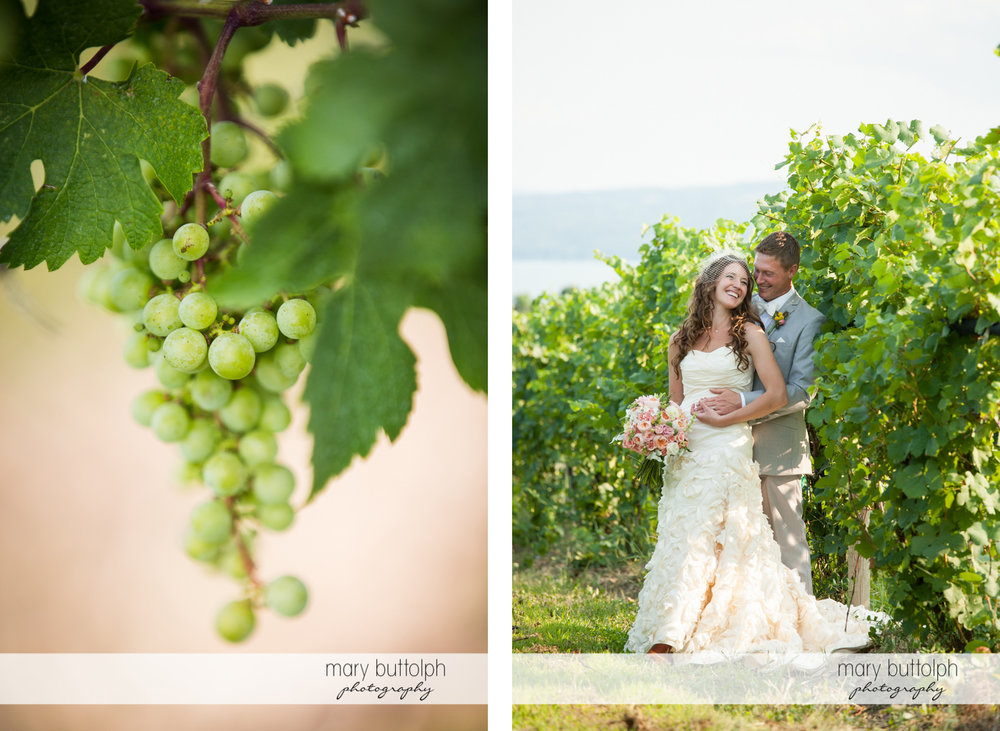 Close up shot of grapes and the couple in the vineyard at the Inns of Aurora Wedding