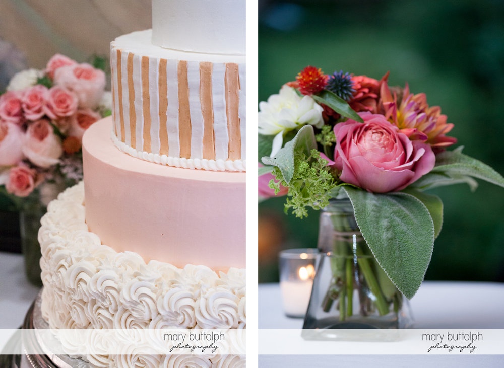 Close up shot of the couple's wedding cake and flowers at the Inns of Aurora Wedding