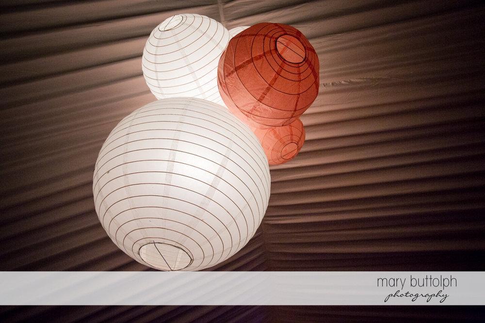 Close up shot of the paper lanterns at the Inns of Aurora Wedding