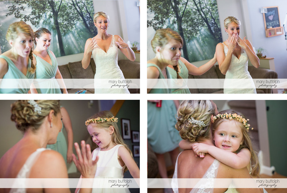 Bride is teary-eyed as she sees a young girl at Arrowhead Lodge Wedding