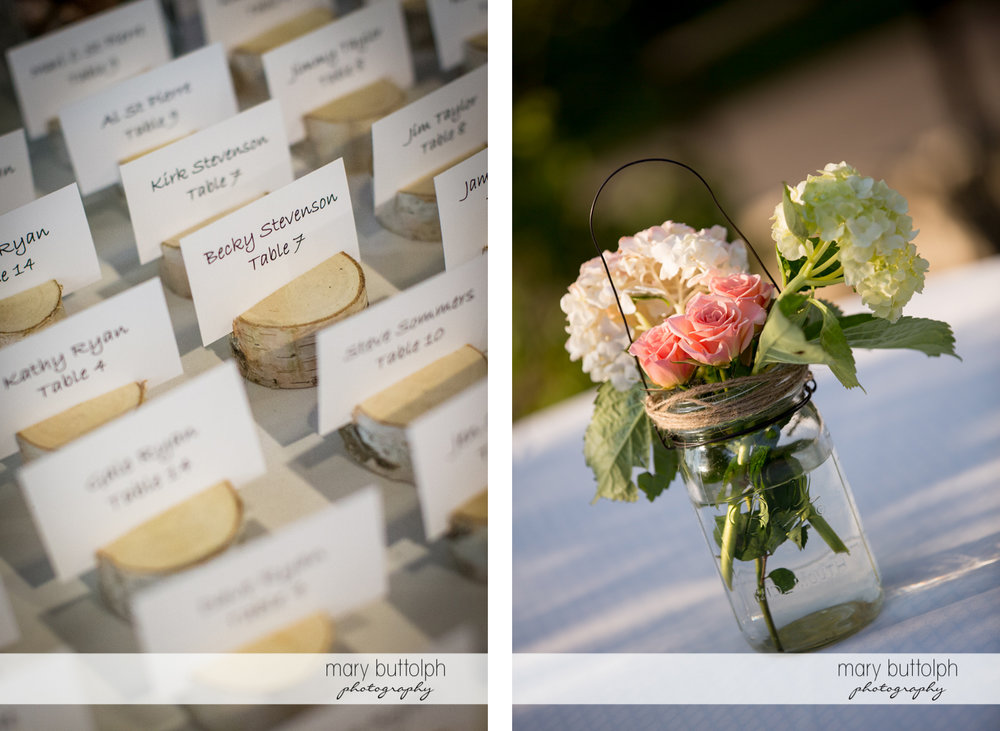 Escort cards for guests and a bouquet at Arrowhead Lodge Wedding