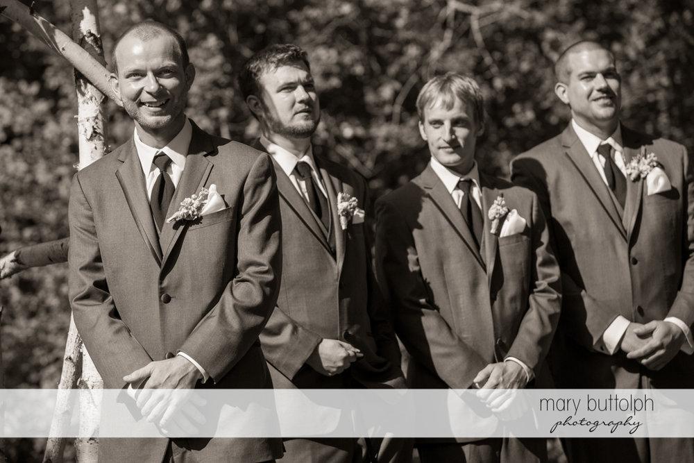 Groom and groomsmen wait for the bride at Arrowhead Lodge Wedding