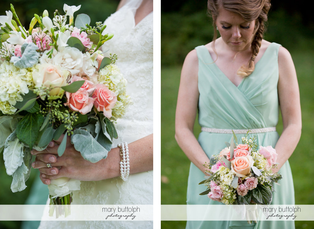 Close up shot of the bride's bouquet and one of the bridesmaids at Arrowhead Lodge Wedding