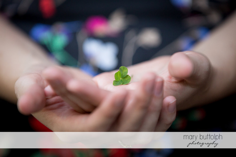 Bride holds small leaves at Arrowhead Lodge Wedding