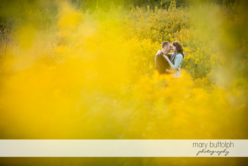 Couple as seen through the plants at Green Lakes State Park Engagement