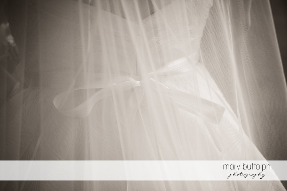Medium shot of the bride in her wedding gown at the Hamilton Inn Wedding