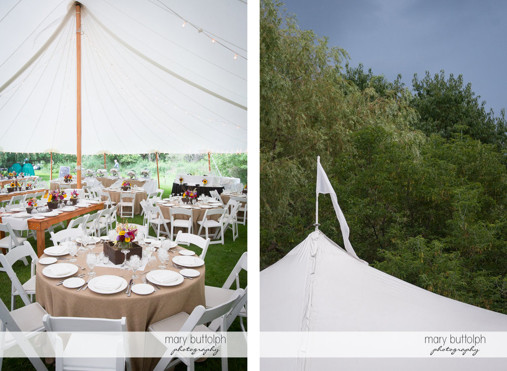 The wedding tent with a white flag on top at the Hamilton Inn Wedding