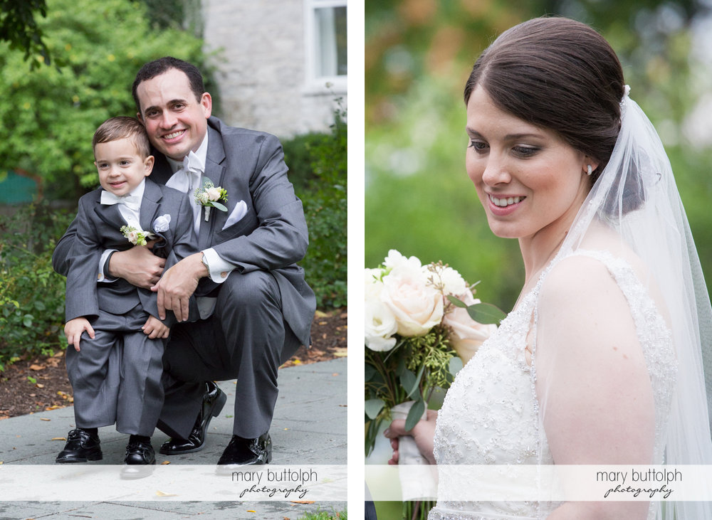 Groom with young boy and the bride at the Inns of Aurora Wedding