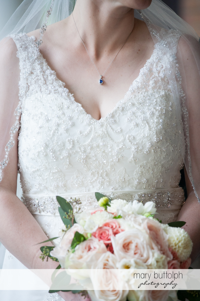 Bride's necklace is focal point of this shot at the Inns of Aurora Wedding