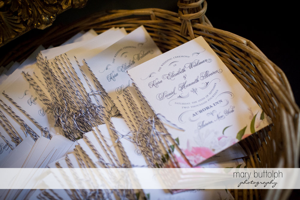 Wedding program for guests at the Inns of Aurora Wedding