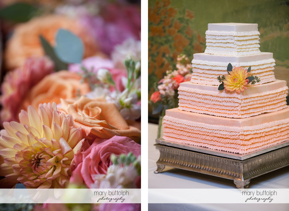 Close up shot of bouquet and the couple's wedding cake at the Inns of Aurora Wedding