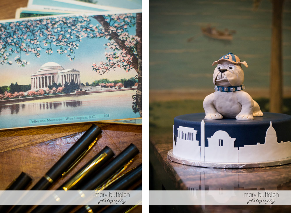 Pens and postcards for guests and the couple's bulldog cake at the Inns of Aurora Wedding