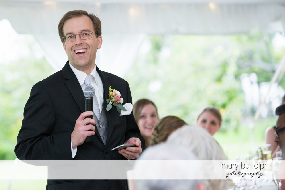 Bride's father makes an announcement at the Inns of Aurora Wedding