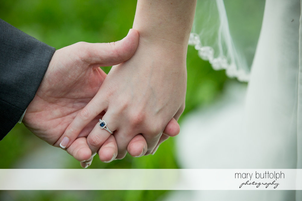 Close up shot of the bride's wedding ring at the Inns of Aurora Wedding