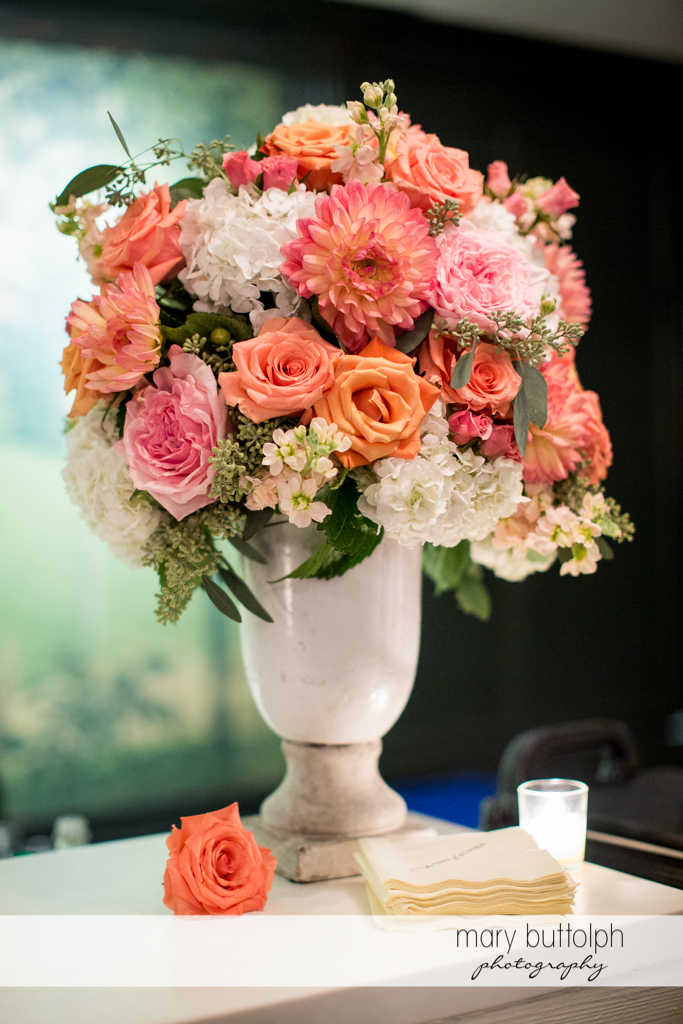 A beautiful bouquet makes a great centerpiece at the Inns of Aurora Wedding