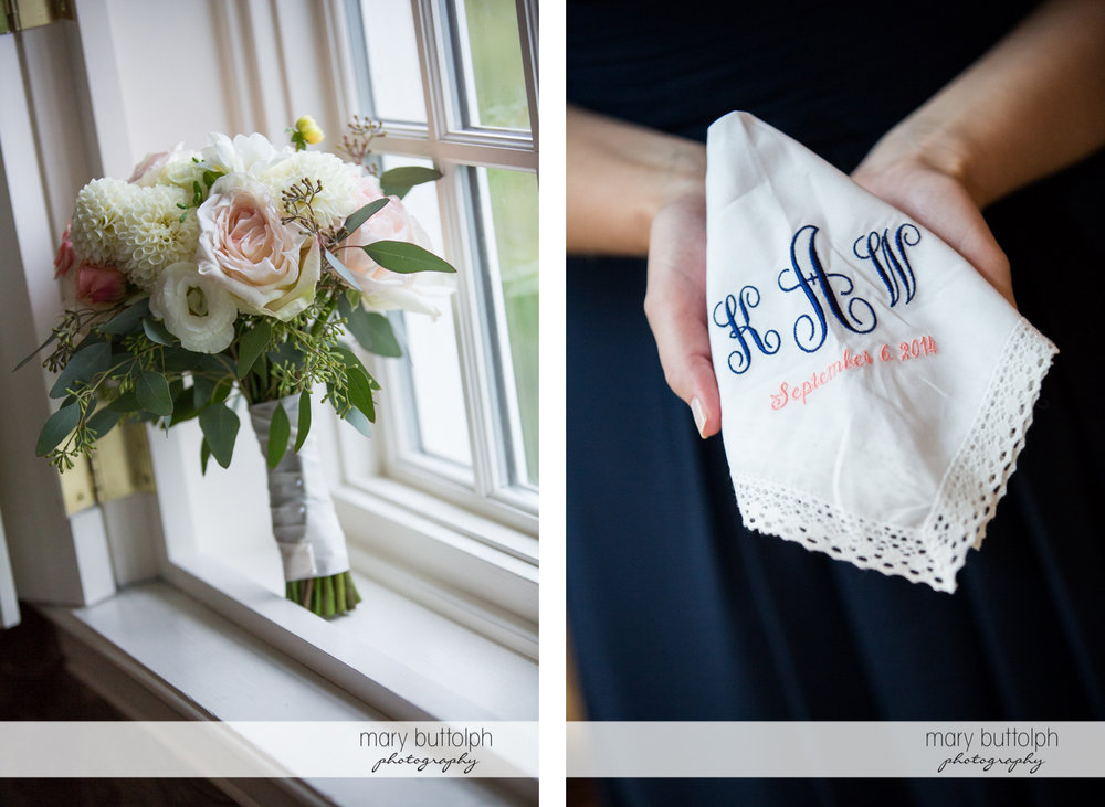 Bouquet by the window and a personalized napkin at the Inns of Aurora Wedding