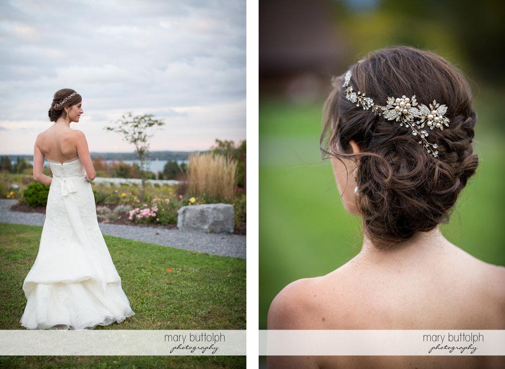 Two shots showing the bride's elegant wedding headdress at Anyela's Vineyards Wedding