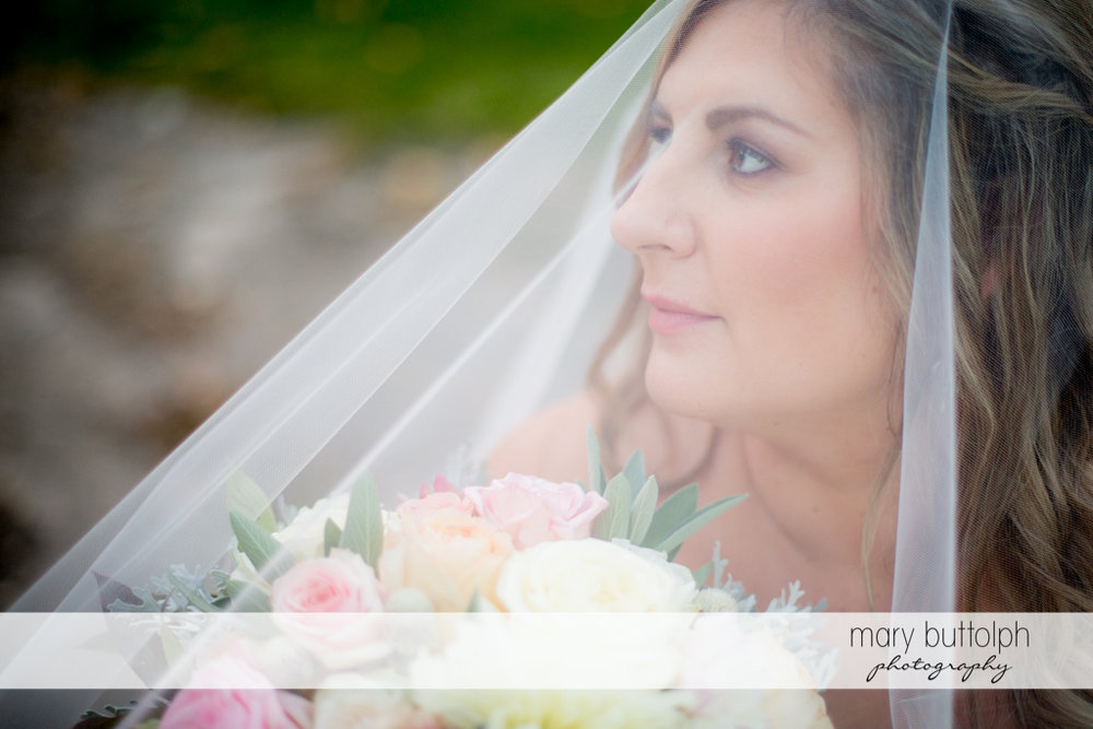 Close up shot of the bride at the Inns of Aurora Wedding