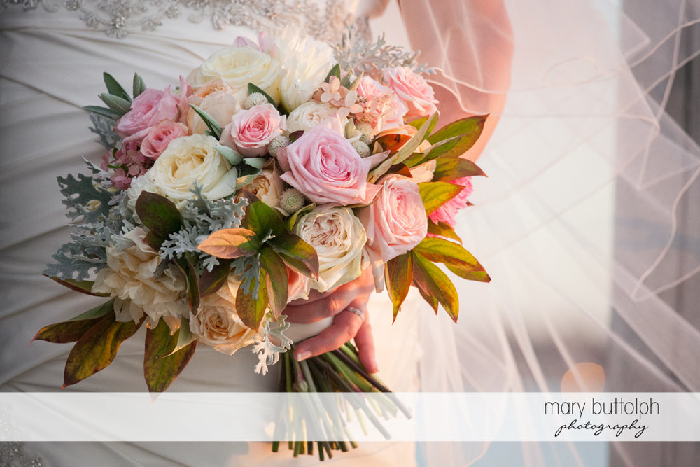 Bride's beautiful bouquet at the Inns of Aurora Wedding