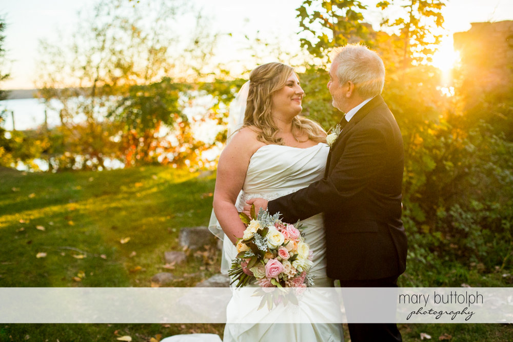 Couple in the garden at the Inns of Aurora Wedding