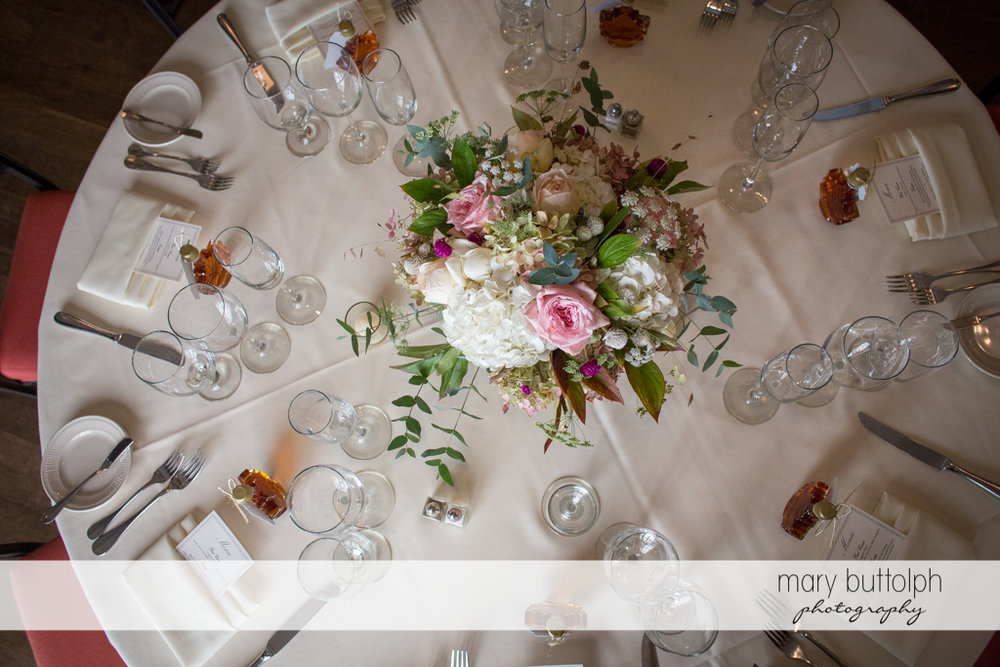 Top view of one of the tables at the wedding venue at the Inns of Aurora Wedding