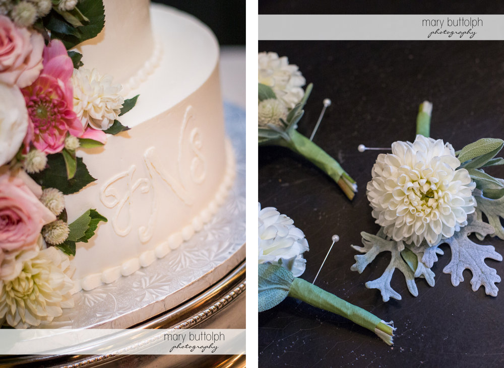 Close up shot of the couple's cake and flowers at the Inns of Aurora Wedding
