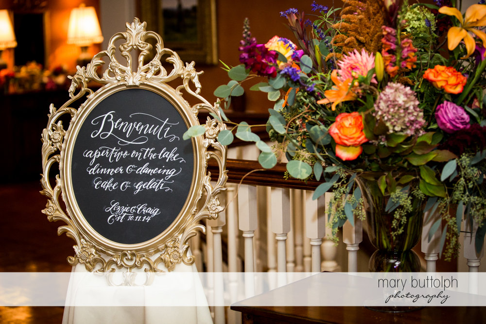 Guests are greeted by this sign at the wedding venue at Skaneateles Country Club Wedding