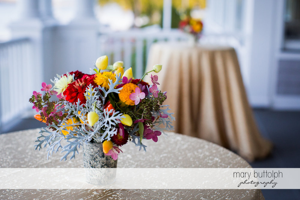 Close up shot of flowers at the wedding venue at Skaneateles Country Club Wedding