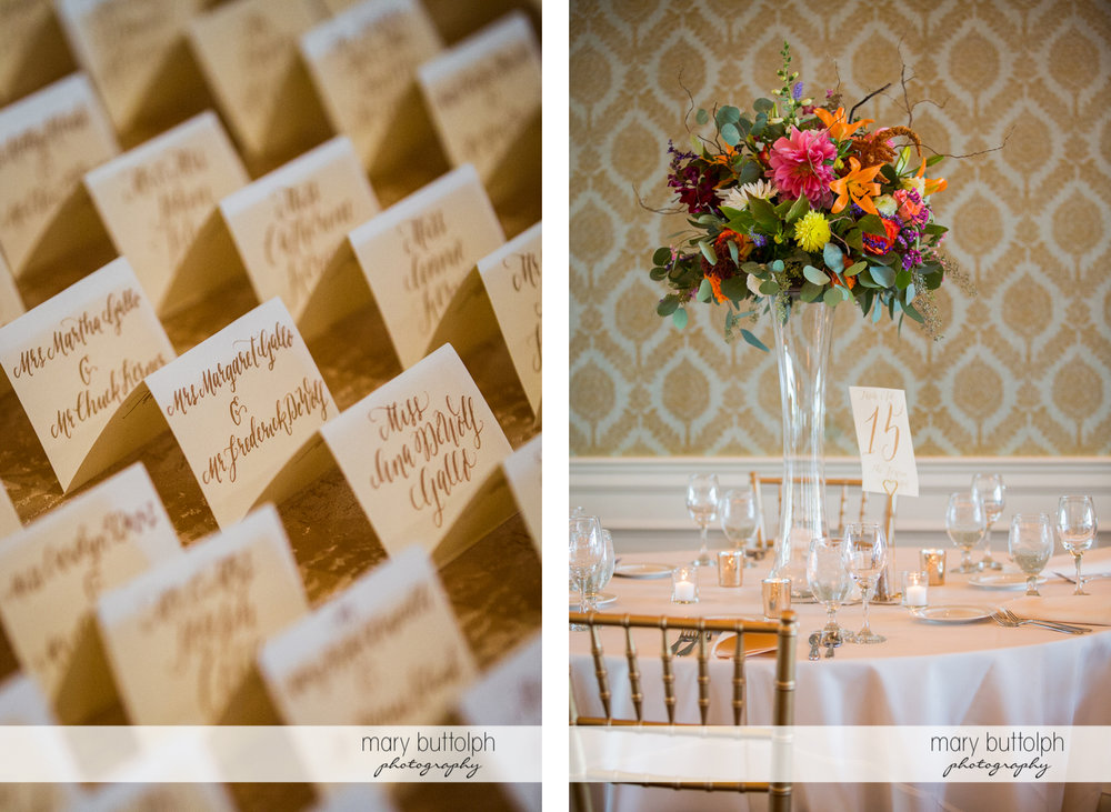 Wedding place cards for guests and a numbered table at Skaneateles Country Club Wedding