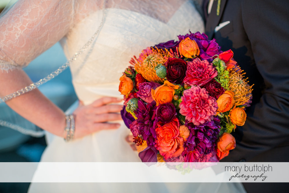 Close up shot of the bride's beautiful bouquet at Skaneateles Country Club Wedding
