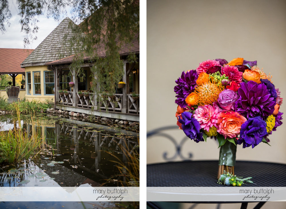 Lakeside house and close up shot of bouquet at Skaneateles Country Club Wedding