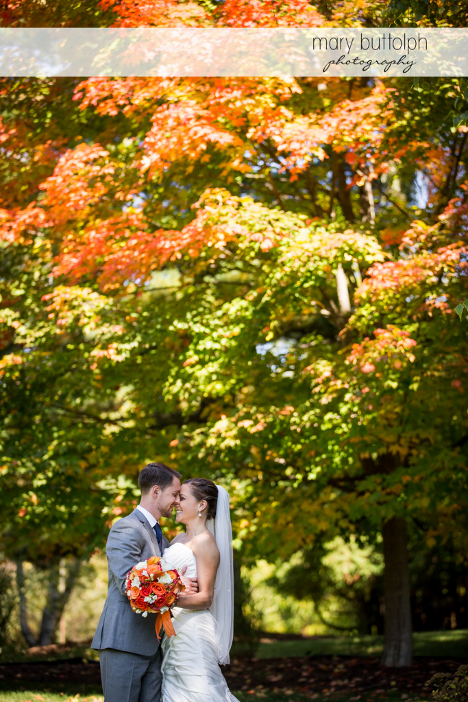 Couple rub noses in front of trees at Skaneateles Country Club Wedding