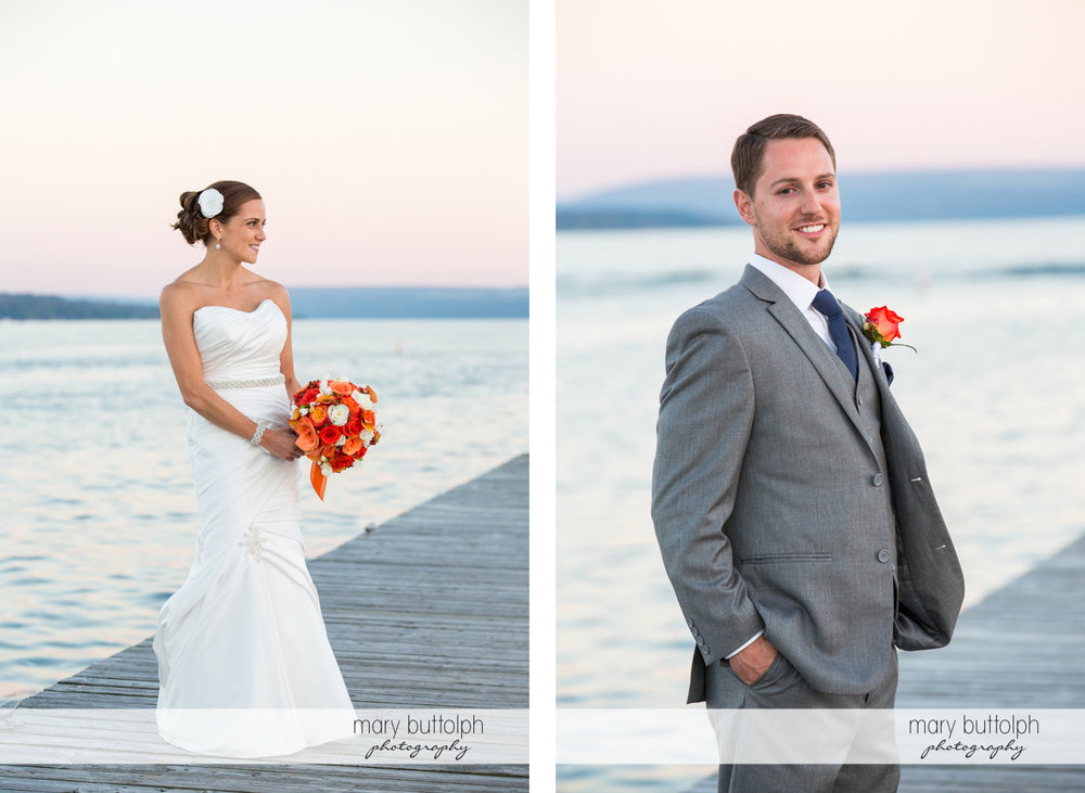Solo shots of the bride and groom by the lake at Skaneateles Country Club Wedding