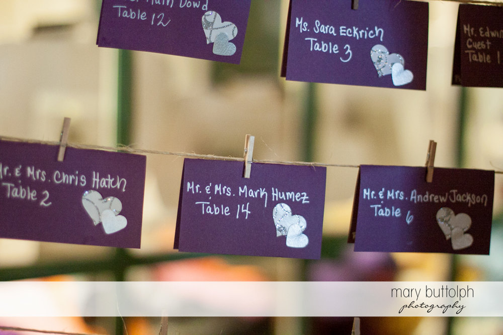 Escort cards for guests at the wedding venue at the Sherwood Inn Wedding