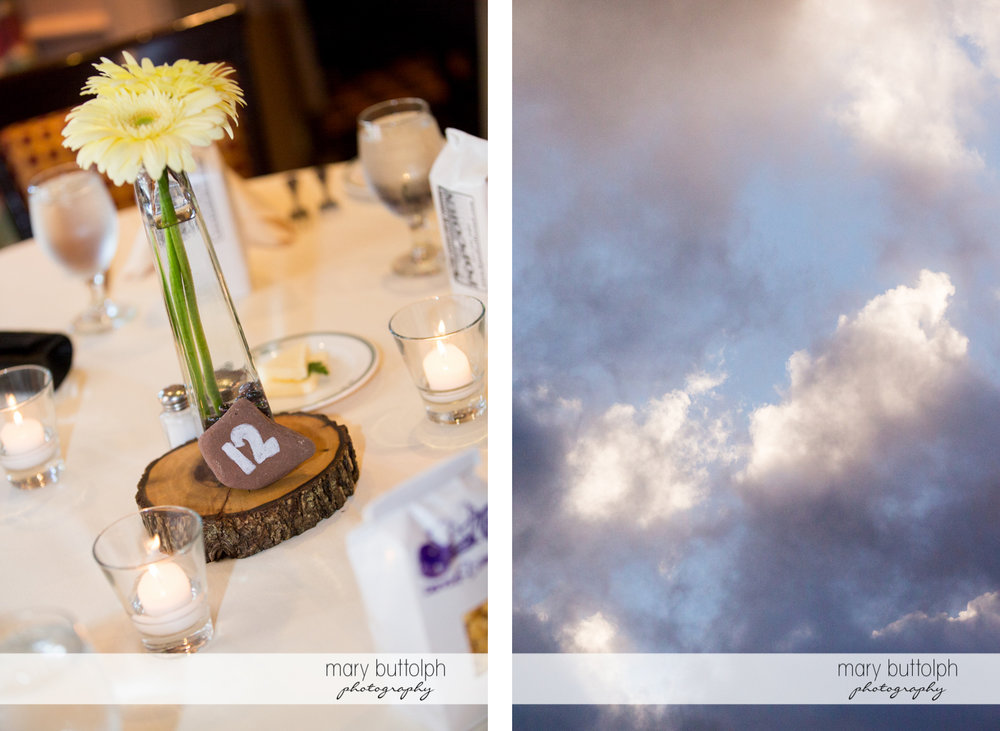 Numbered table with flowers at the wedding venue and dark skies at the Sherwood Inn Wedding