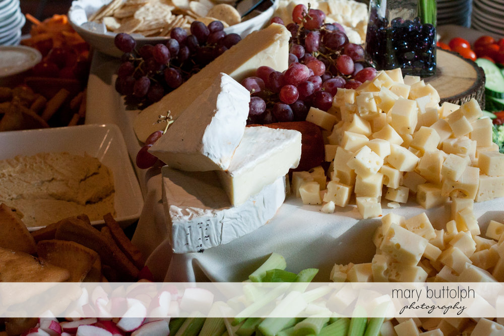 Cheese and fruits for guests at the Sherwood Inn Wedding