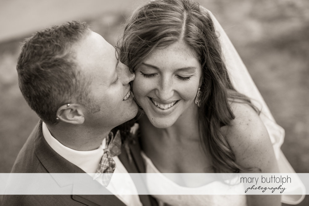 Couple share a happy moment at the Sherwood Inn Wedding