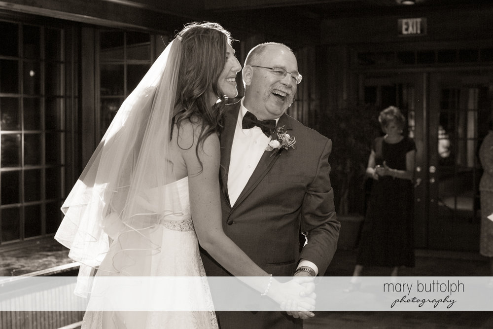 Bride and her father dance at the wedding venue at the Sherwood Inn Wedding