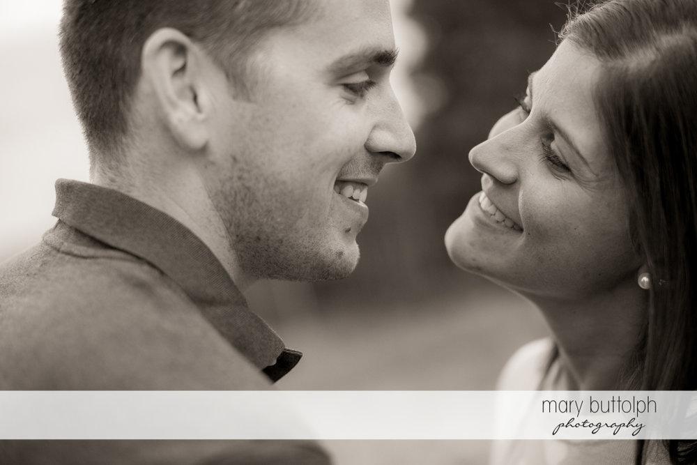 Couple in close up shot at Skaneateles Lake Engagement